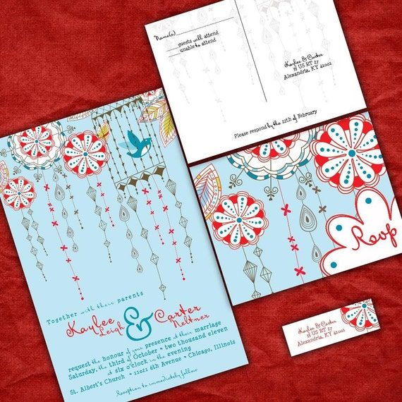 Blue And Red Wedding Invitations Love Birds And Lanterns