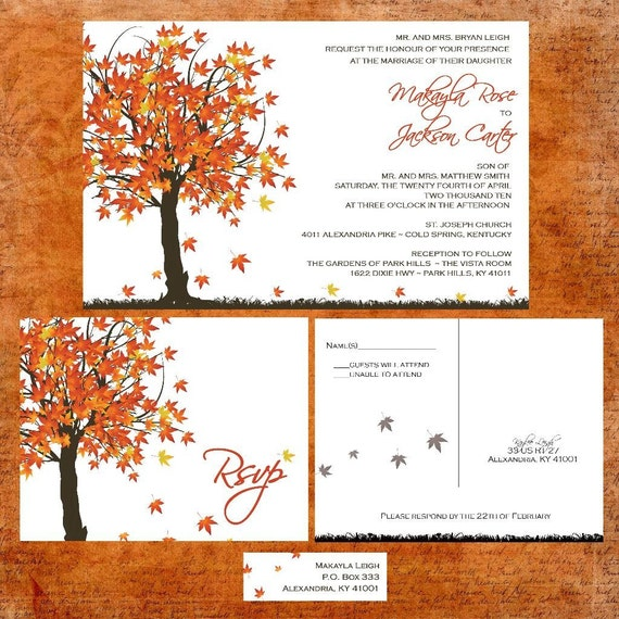 Fall In Love Wedding Invitation Suite with RSVP postcards and address labels