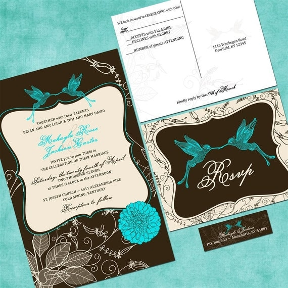 Hummingbird Garden Custom Wedding Invitation Suite with RSVP postcards and address labels