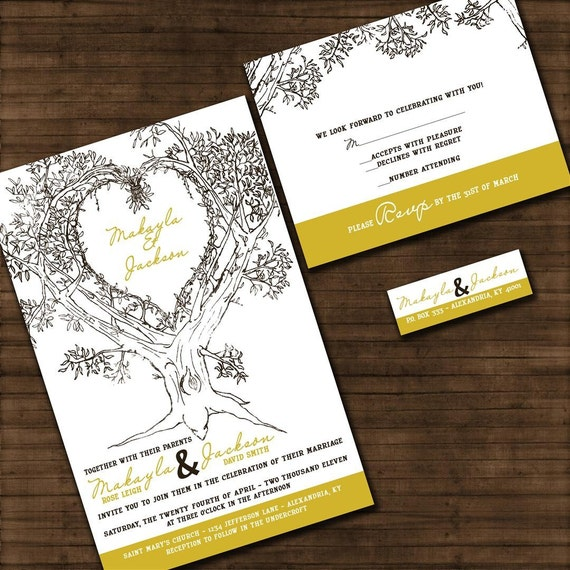 Tree Wedding Invitations: Personalized Oak Tree Wedding Invitation Sample Packet