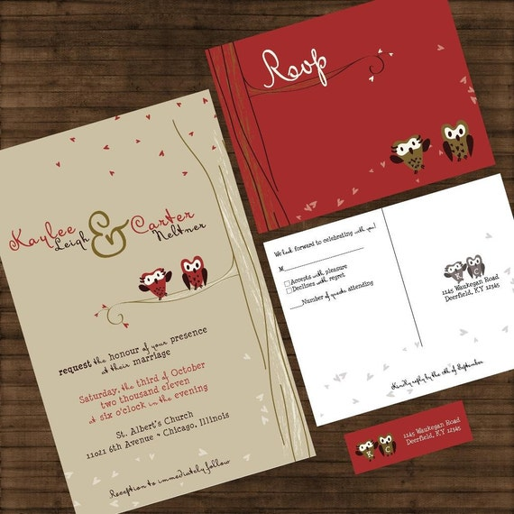 Cute Owl Wedding Invitations Owl Love You Forever Custom