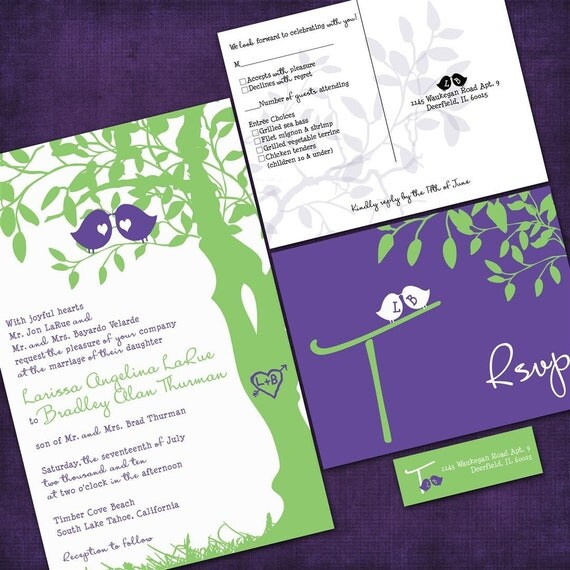 Custom Love Birdies Wedding Invitation Suite with RSVP postcards and address labels