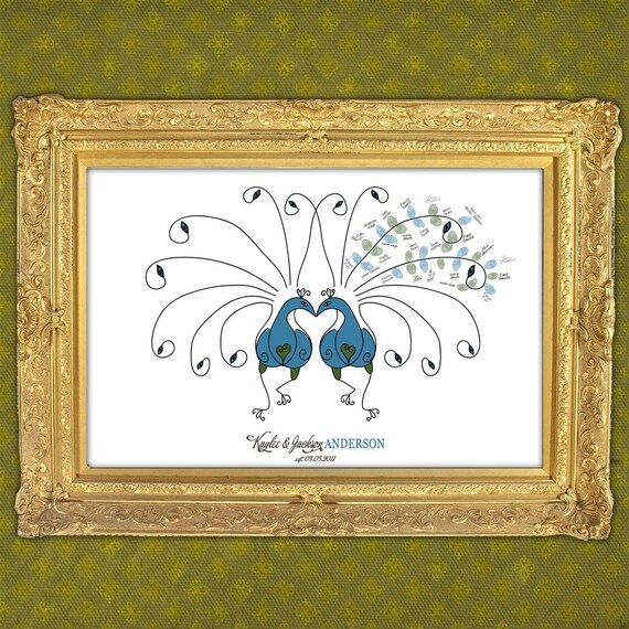 Wedding Guest Book Fingerprint Peacock  Feathers - 150-350 Guests - Peacock Wedding