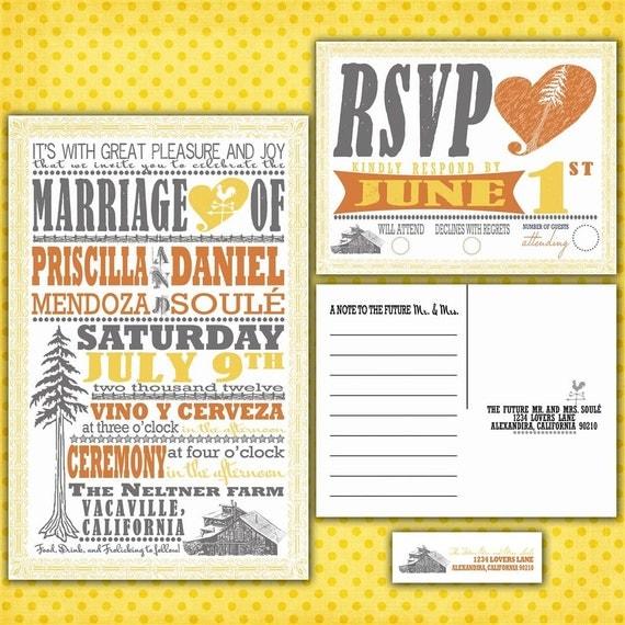 Custom Wedding Invitations - Vintage Redwood Poster Custom Wedding Invitation Suite with RSVP postcards and address labels