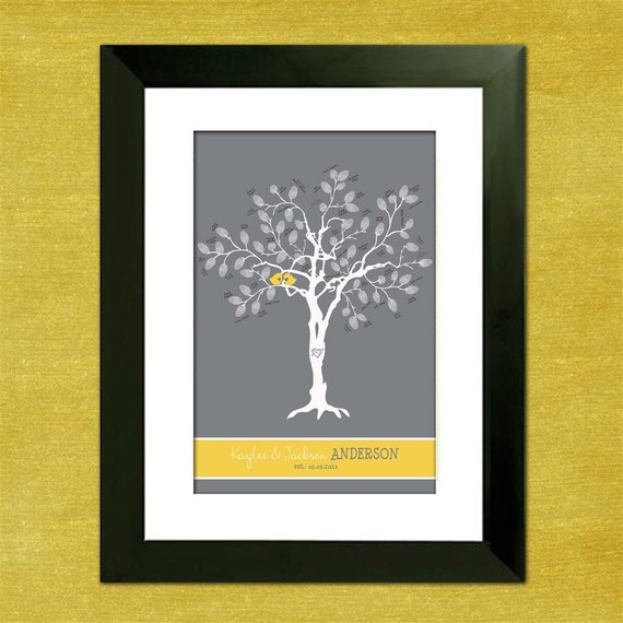 "Wedding Tree Guest Book Alternative- Thumbprint Tree - Custom Love Birdies 16"" x 24"" Wedding Tree - 75-200 Thumbprints - Gray and Yellow"