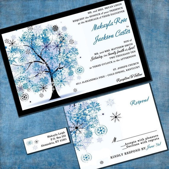 Winter Wedding Invitation - Snowflake Tree - Sample Set - Winter Wonderland - Blue, White and Black