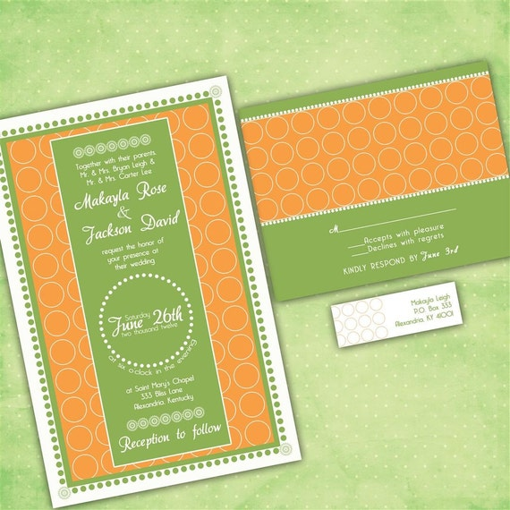 Custom Wedding Invitations - Personalized Colors - Modern Circles Custom Wedding Invitation Suite with RSVP cards and address labels