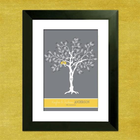 Thumbprint Tree Guest Sign: Items Similar To Wedding Guest Book Fingerprint Tree