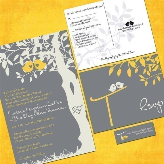 Gray and Yellow Wedding Invitations, Discount Wedding Invitation, Custom Love Birds, Tree Wedding Invitation, Sample