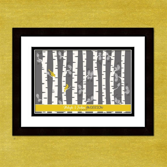 "Fingerprint Wedding Tree Birch Tree Forest Custom 12"" x 18""  - Gray and Yellow - With Instructions"