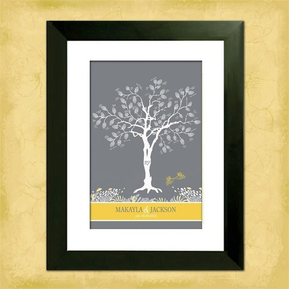 "Wedding Tree Guest Book - Thumbprint Tree - Whimsical Birdies Custom 12"" x 18"" Wedding Tree - With Instructions"