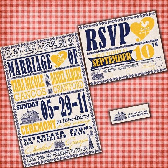 Custom Wedding Invitations - Vintage Farm Poster - Down on the Farm Custom Wedding Invitation Suite - Sample Packet