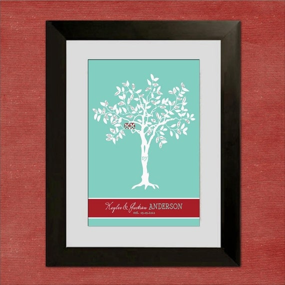 "Wedding Tree Guest Book Alternative - Custom Lovin' Owls - 16"" x 24"" - Signature Only - Up to 130 guests"