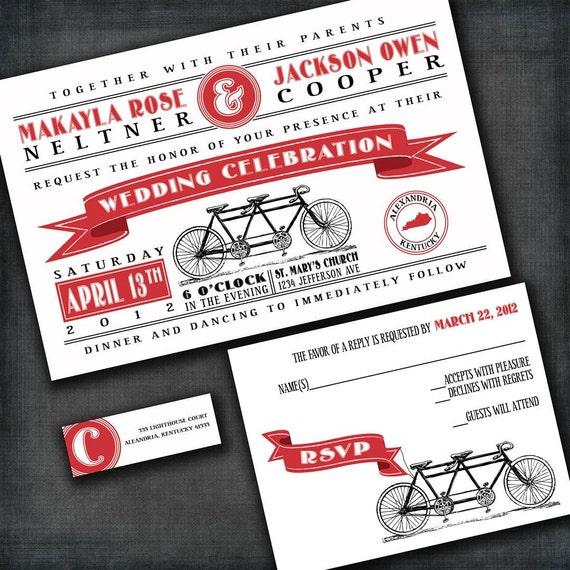 Tandem Bicycle Custom Wedding Invitation Suite By