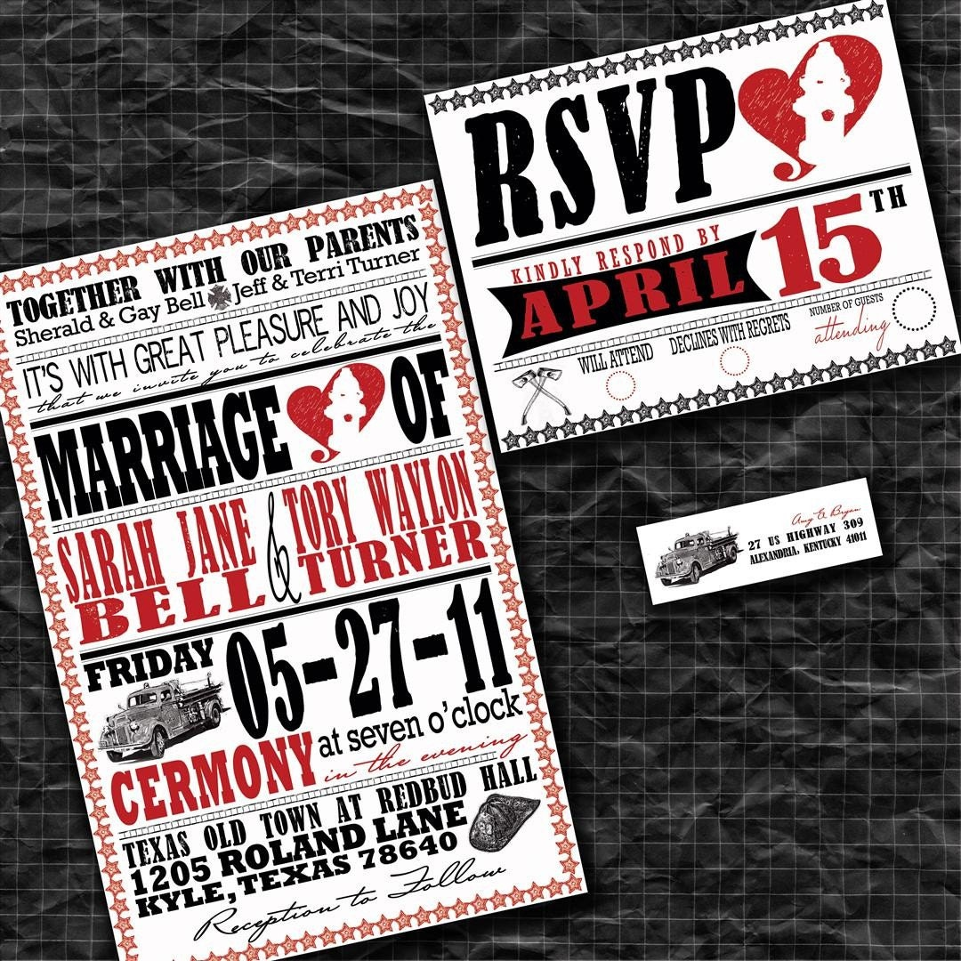 Firefighter Wedding Themes Ideas: Firefighter Wedding Invitations Fireman Wedding Invite Set