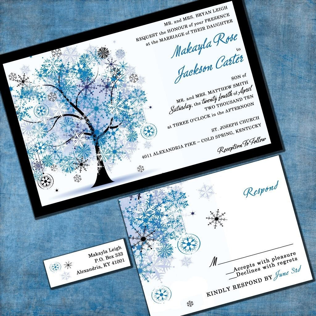 winter tree wedding invitation winter wonderland custom