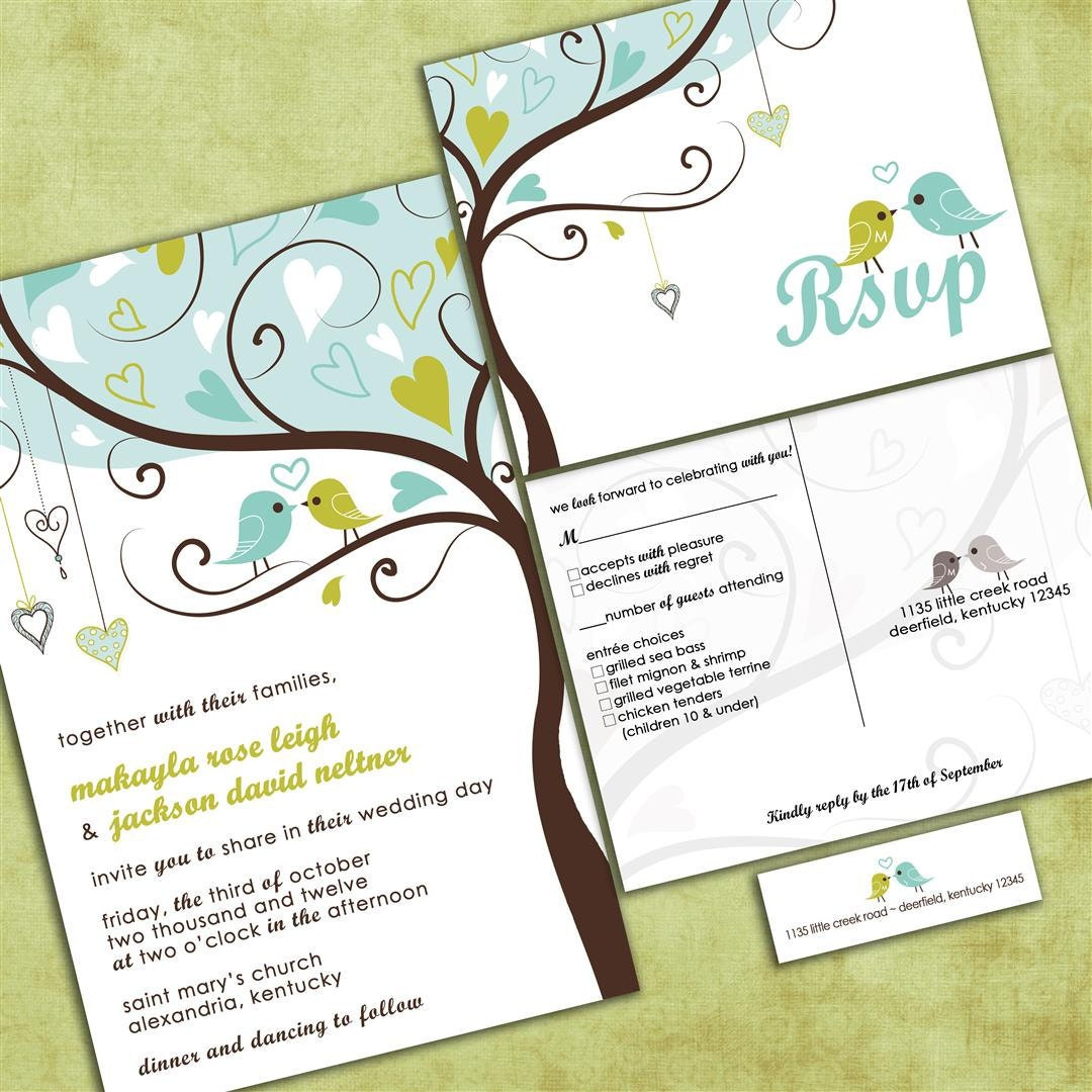 Tree Wedding Invitations: Love Birds In A Tree Wedding Invitation Tweet Tweet