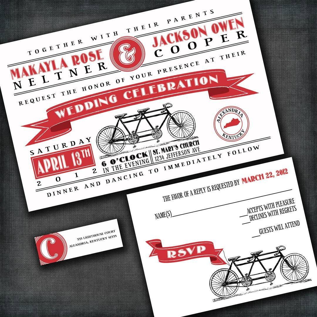 Tandem Bicycle Wedding Invitations Invitation Sample Packet