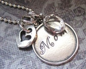Personalized Sterling Silver Hand Stamped Mom Necklace
