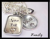 Personalized Sterling Silver Hand Stamped Family Initial Necklace