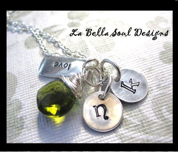 Personalized Sterling Silver Hand Stamped Love Story Initial Necklace