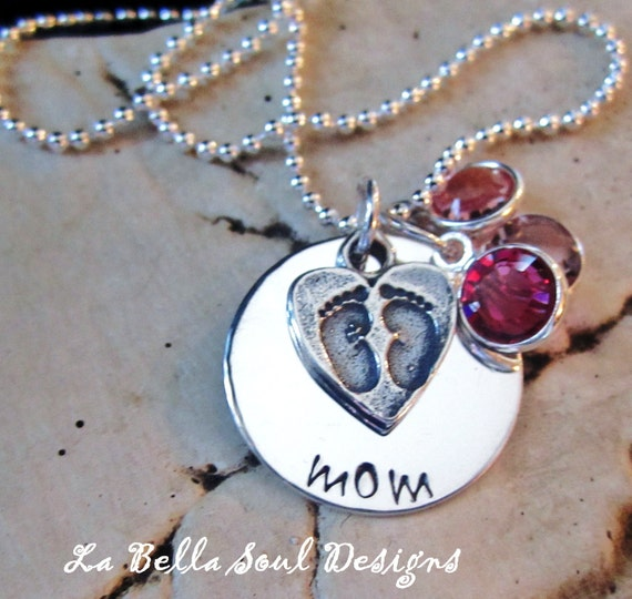 Personalized Handstamped Sterling Silver Mothers Love Necklace, Grandma Necklace, Family Necklace
