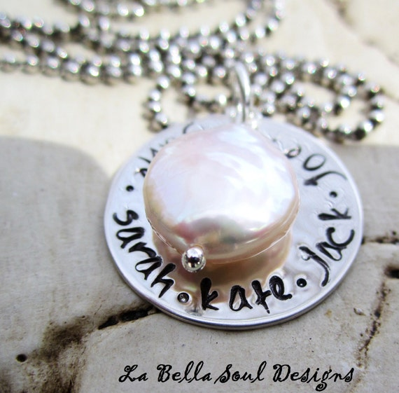Personalized Handstamped Sterling Silver  Coin Pearl Grandma, Mothers Necklace