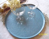 Vintage Kyes Moire Enamel Metal Round Tray French Blue