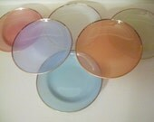 RESERVED FOR BECCA Vintage Pastel Plates From Copenhagen, Set Of 6