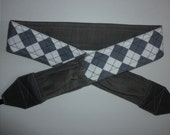 BRAND NEW  Distinguished in Grey Argyle camera strap,grey corderoy back, 2 expandable pockets