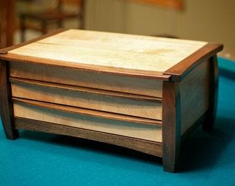 Wooden Maple & Walnut Jewelry Box