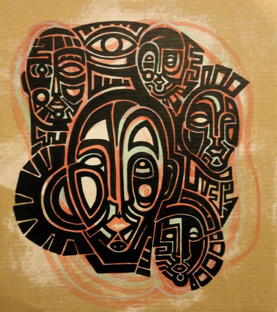 Reduced price // Tribal painting