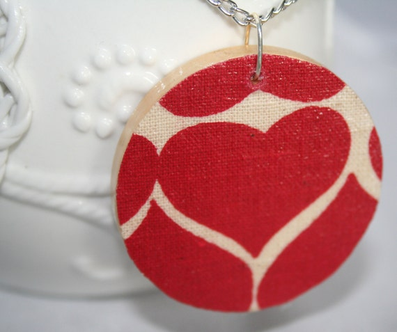 Bold Heart Necklace-Red and White Fabric on Wood