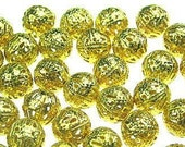 30 pieces 8mm Gold Plated Round Beads ... Filigree