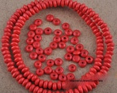 40 wooden beads 6mm round ... red ... great for spacer beads
