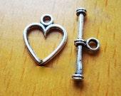 3 Heart Toggle Sets ...  Heart shaped toggle Clasp ... 3 sets  ... tibet silver