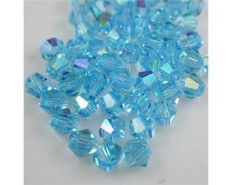 beautiful, sparkly Crystals 4mm bicone,  Beautiful Blue Color with AB Effect 25 pieces  ...destash sale price ...  item #sbab19