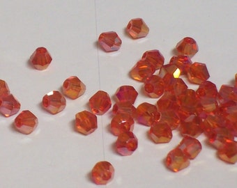 Red AB 4mm Bicone Crystals beads ... item 1214RAB