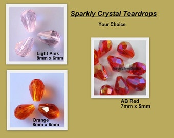 9 pieces, crystal teardrop beads  ... AB Red ... petite size ...  only AB Red is still available   item # CTB6