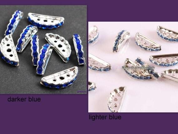 3 Silver Metal w/ Dark Blue Crystal Rhinestones Spacer,  Slider,  3 Holes Spacer Beads,  Findings ... 3 hole semicircle spacer .. destashing