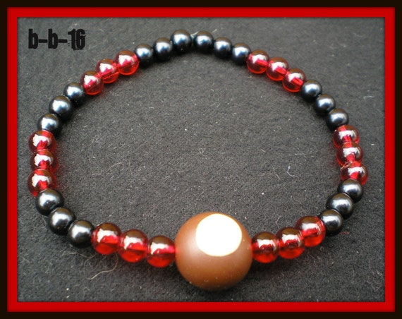 Beaded Masculine Handmade Stretchy Ohio State Buckeyes Bracelet MENS...Great GiFT...CUSTOMIZABLE...choose your beads. Local Artist.