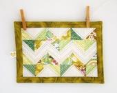Green ZigZag  Mug rug - Mini quilt - Coaster- Candle Mat - Wall Art - hostess gift - under 25