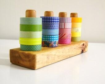 Tinted Washi Tape Organizer - Wood Masking Tape Holder - Eco friendly Japanese Tape Dispenser for 20 rolls
