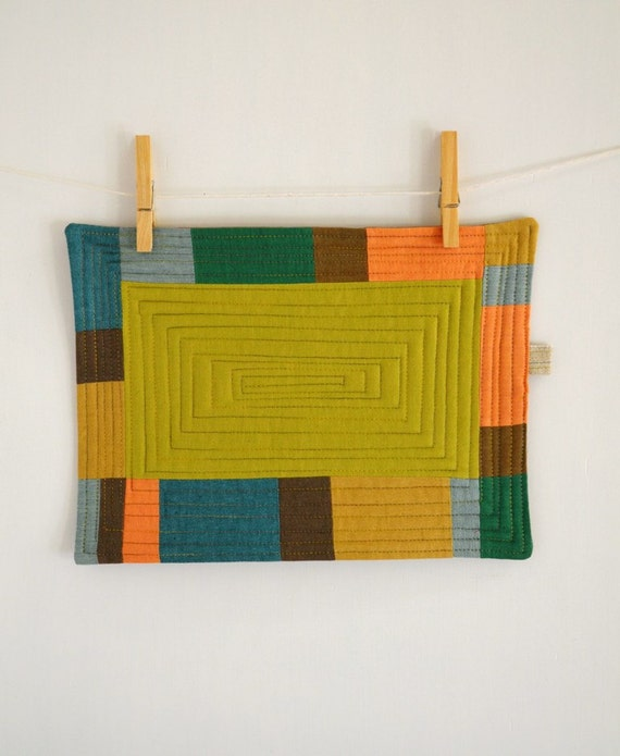 Colorful Patchwork III  Mug rug - Mini quilt - Coaster- Candle Mat - Wall Art - patchwork art - decorative mini quilt
