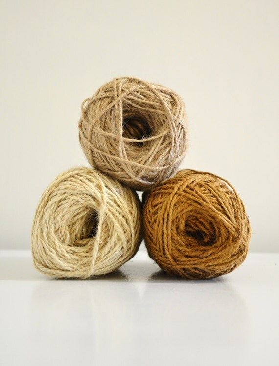 Rustic Jute Twine / string / Yarn for crafting, knit, crochet, gifts, packing, scrapbook, wedding, natural tones, Set of 3 buy more and save