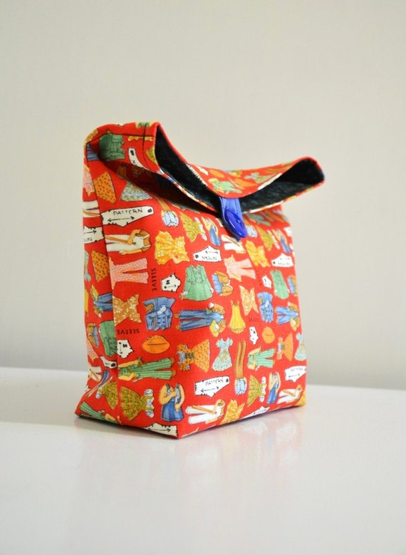 Handmade Pouch Red Snippets / cosmetic case /  Lunch sack / craft carry- travel case- snack bag