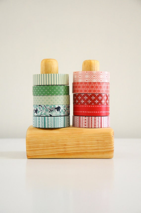 Sturdy Washi Tape Organizer - Masking Tape Holder - Wooden - Eco friendly Wood Japanese Tape Dispenser for 10 rolls - gift under 25