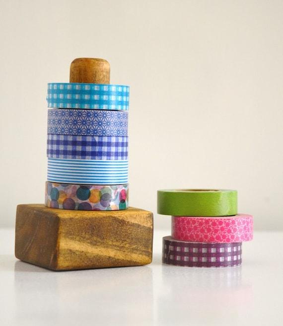 Dark Washi Tape Organizer - Wood Masking Tape Holder - Eco friendly Wood Japanese Tape Dispenser for 5 rolls - valentines day gift