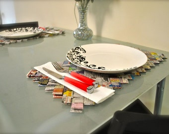 Newspaper Place Mats, Ecofriendly Placemats, Recycled Paper Placemats