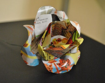 Recycled Newspaper Flowers, Paper Roses, Newspaper Flower Bouquet